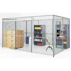 Wire Mesh Partition Security Room 20x15x8 with Roof - 3 Sides w/ Window