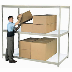 "Wide Span Rack 96""W x 48""D x 84""H Gray With 3 Shelves Laminated Deck 1100 Lb Cap Per Level"