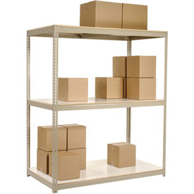 "Wide Span Rack 72""W x 36""D x 84""H Tan With 3 Shelves Laminated Deck 900 Lb Cap Per Level"