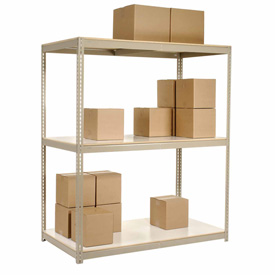 "Wide Span Rack 96""W x 36""D x 84""H Tan With 3 Shelves Laminated Deck 1100 Lb Cap Per Level"