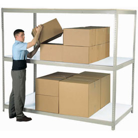 "Wide Span Rack 72""W x 48""D x 96""H Tan With 3 Shelves Laminated Deck 900 Lb Cap Per Level"