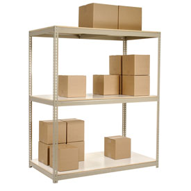 "Wide Span Rack 96""W x 48""D x 96""H Tan With 3 Shelves Laminated Deck 800 Lb Cap Per Level"
