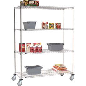 Nexel® Stainless Steel Wire Shelf Truck 72x24x80 1200 Lb. Capacity