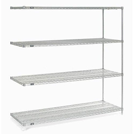 "Nexel Stainless Steel Wire Shelving Add-On 54""W X 18""D X 74""H"
