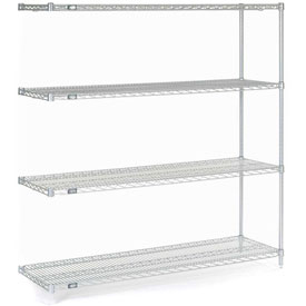 "Nexel Stainless Steel Wire Shelving Add-On 60""W X 18""D X 63""H"
