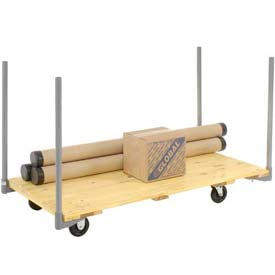 "Stake Handle Hardwood Deck Platform Truck 54 x 27 1000 Lb. Capacity 5"" Polyurethane Casters"