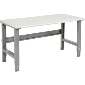 "48""W X 30""D ESD Safety Edge Top Work Bench - Adjustable Height - 1-1/4"" Top - Gray"