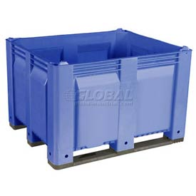 Decade M40SBL1 Pallet Container Solid Wall 48x40x31 Long Side Runners Blue 1500 Lb Capacity