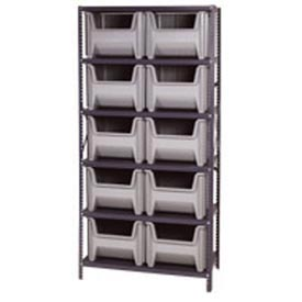 Quantum QSBU-800 Shelving With 10 Giant Hopper Bins Gray, 36x18x75