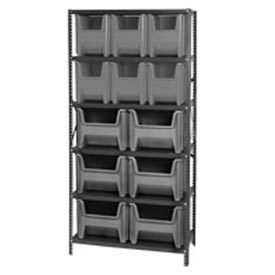 Quantum QSBU-600800 Shelving With 12 Giant Hopper Bins Gray, 36x18x75