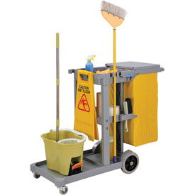 Global™ Janitor Cart Gray with 25 Gallon Vinyl Bag