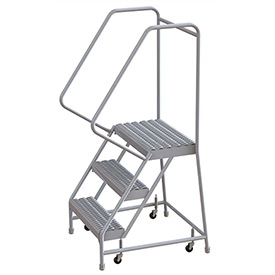"3 Step Aluminum Rolling Ladder, 16""W Grip Step, 30"" Handrails"