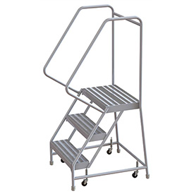 "3 Step Aluminum Rolling Ladder, 24""W Ribbed Step, 30"" Handrails"
