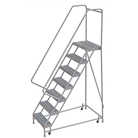 "7 Step Aluminum Rolling Ladder, 24""W Ribbed Step, 30"" Handrails"