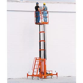 "Two Person Lift W/ DC Power 28' Max Ht, 28""L x 36""W Platform"