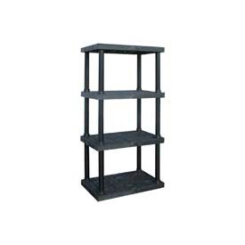 "Structural Plastic Adjustable Solid Shelving, 36""W x 24""D x 72""H, Black"