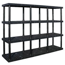 "Structural Plastic Adjustable Solid Shelving, 96""W x 24""D x 72""H, Black"
