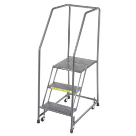 "Perforated 16""W 3 Step Steel Rolling Ladder 21""D Top Step"