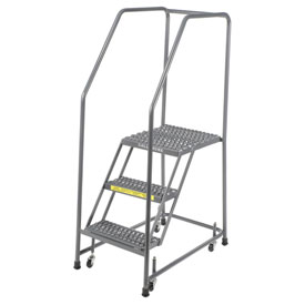 "Grip 16""W 3 Step Steel Rolling Ladder 21""D Top Step"