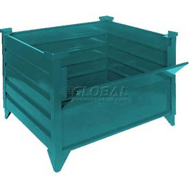 "Topper Stackable Steel Container 51010G DG Solid, Drop Gate, 48""L x 42""W x 24""H, Green"