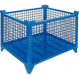 """Topper Stackable Steel Container 61009BDG Wire Mesh, Drop Gate, 42""""L x 42""""W x 24""""H, Blue"""