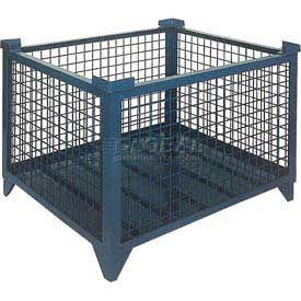 "Topper Stackable Steel Container 61010DG Wire Mesh, Drop Gate, 48""L x 42""W x 24""H, Unpainted"