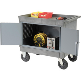 """Mobile Tray Top Shelf Maintenance Cart with 8"""" Pneumatic Casters"""