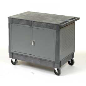 "Mobile Flat Top Shelf Maintenance Cart with 5"" Rubber Casters"