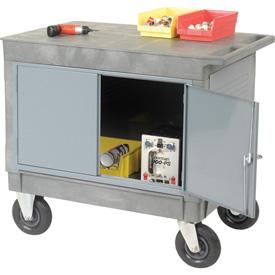 "Mobile Flat Top Shelf Maintenance Cart with 8"" Pneumatic Casters"
