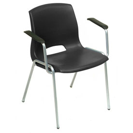 Stack Chairs With Arms - Plastic - Black - Merion Collection - Pkg Qty 4 - Pkg Qty 4
