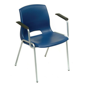 Stack Chairs With Arms - Plastic - Blue - Merion Collection - Pkg Qty 4