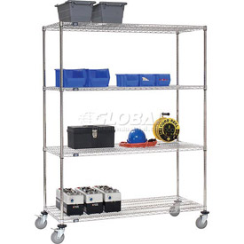 Nexel® Stainless Steel Wire Shelf Truck 48x24x69 1200 Lb. Cap. with Brakes