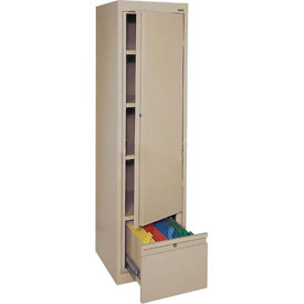 Sandusky System Series Storage Cabinet with File Drawer HADF171864 Single Door - 17x18x64, Sand