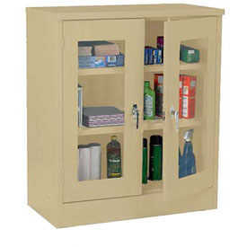 Sandusky Clear View Counter Height Storage Cabinet EA2V461842 - 46x18x42, Sand