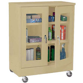 Sandusky Mobile Clear View Counter Height Storage Cabinet TA2V362442 -36x24x48, Sand