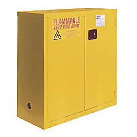 "Global™ Flammable Cabinet  - 30 Gallon - Self Close Double Door - 43""W x 18""D x 44""H"