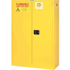 "Global™ Flammable Cabinet - 45 Gallon - Manual Close Double Door - 43""W x 18""D x 65""H"