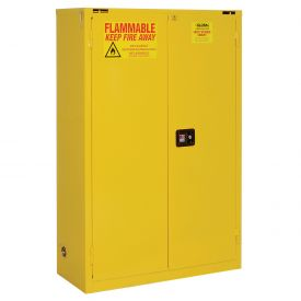 "Global™ Flammable Cabinet - 45 Gallon - Self Close Double Door - 43""W x 18""D x 65""H"