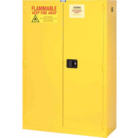 "Global™ Flammable Cabinet - 90 Gallon - Manual Close Double Door - 43""W x 34""D x 65""H"