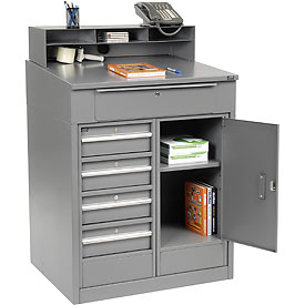 "Shop Desk with 5 Drawers and Cabinet - Gray 34.5""W x 30""D x 51.5""H"