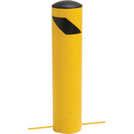"Steel Bollard With Removable Plastic Cap & Chain Slots For Underground 24"" x 5-1/2"""