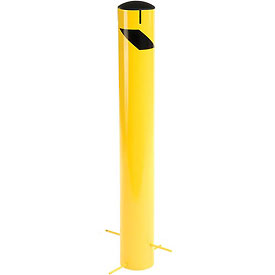 "Steel Bollard With Removable Plastic Cap & Chain Slots For Underground 42"" x 5-1/2"""