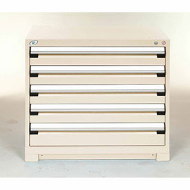 Modular Storage Drawer Cabinet 30x27x32, 5 Drawers (2 Sizes) w/o Divider, w/Lock, Beige