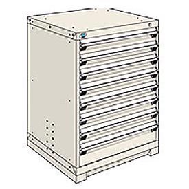 Rousseau Modular Storage Drawer Cabinet 30x27x40, 8 Drawers (2 Sizes) w/o Divider, w/Lock, Beige