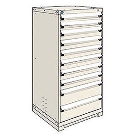 Rousseau Modular Storage Drawer Cabinet 36x24x60, 10 Drawers (3 Sizes) w/o Divider, w/Lock, Beige