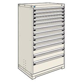 Rousseau Modular Storage Drawer Cabinet 36x24x60, 12 Drawers (4 Sizes) w/o Divider, w/Lock, Beige
