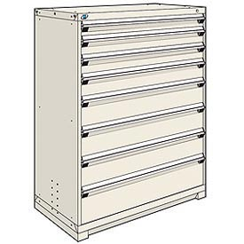 Rousseau Modular Storage Drawer Cabinet 48x24x60, 8 Drawers (5 Sizes) w/o Divider, w/Lock, Beige