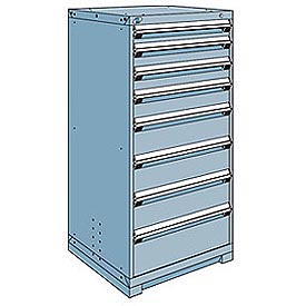 Rousseau Modular Storage Drawer Cabinet 30x27x60, 8 Drawers (5 Sizes) w/o Divider, w/Lock, Blue