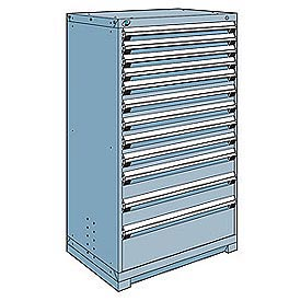 Rousseau Modular Storage Drawer Cabinet 36x24x60, 12 Drawers (4 Sizes) w/o Divider, w/Lock, Blue
