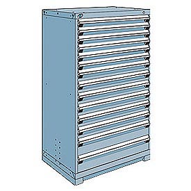 Rousseau Modular Storage Drawer Cabinet 36x24x60, 14 Drawers (3 Sizes) w/o Divider, w/Lock, Blue